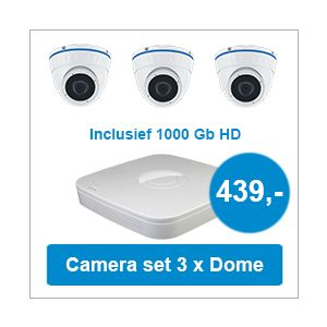 Camera set met NVR + 3 Dome camera